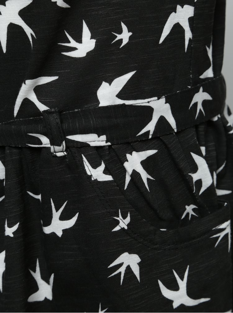 Čierne dievčenské šaty s opaskom a motívom vtákov BÓBOLI