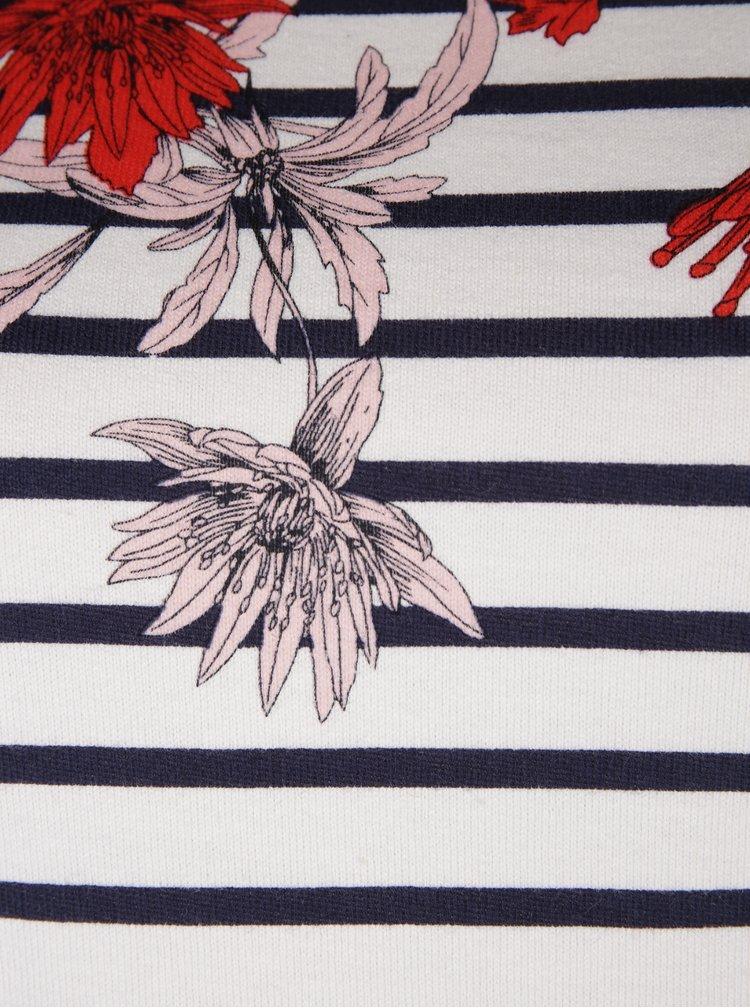 Rochie tubulara alb& albastru cu flori si dungi - Tom Joule