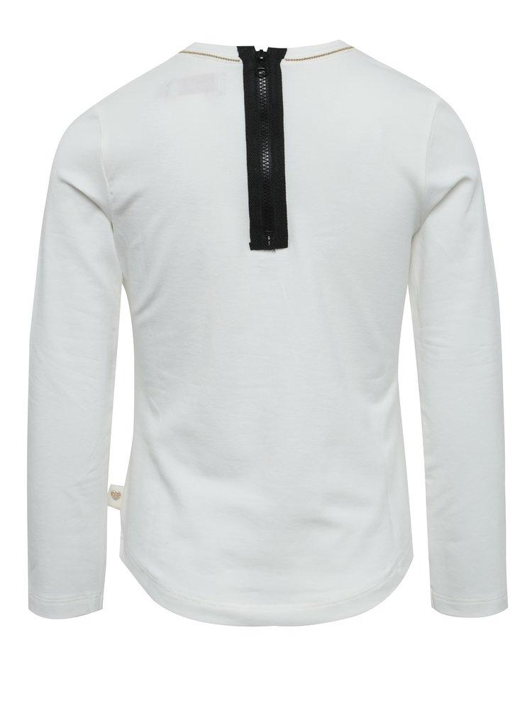 Krémové dievčenské tričko s potlačou a zipsom na chrbte BÓBOLI
