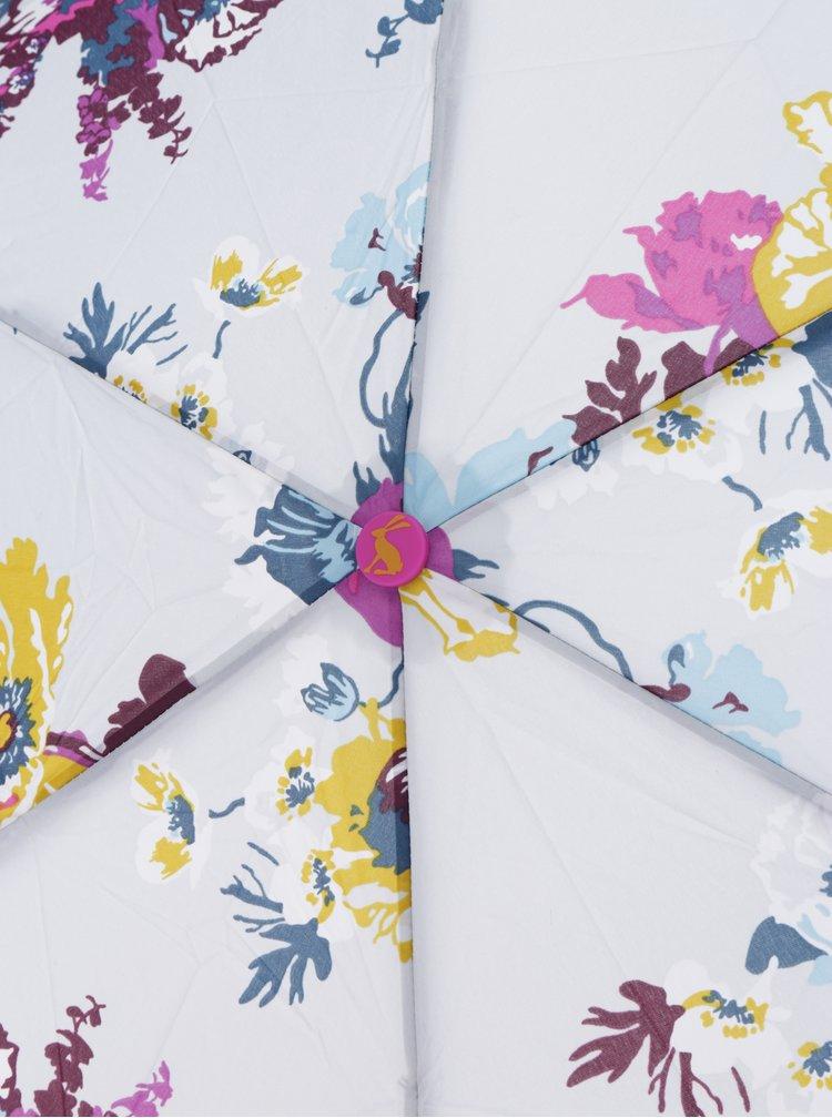 Šedý květovaný skládací deštník Tom Joule Brolly