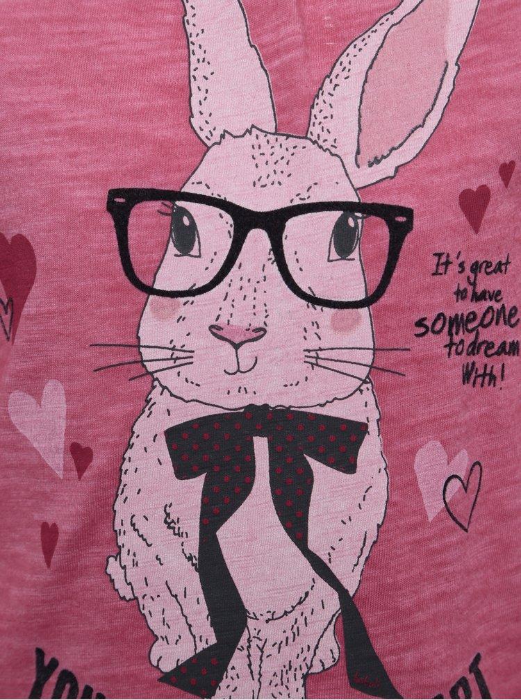 Růžové žíhané holčičí tričko s potiskem a dlouhým rukávem BÓBOLI