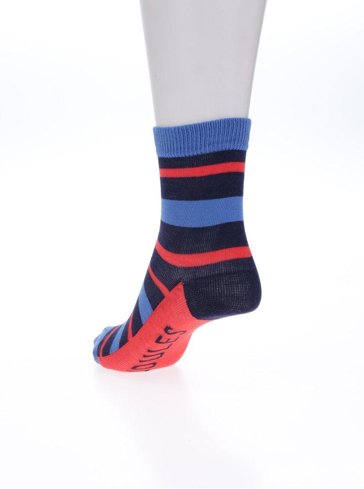 Sada třech párů klučičích pruhovaných ponožek v červené a modré barvě Tom Joule Bike