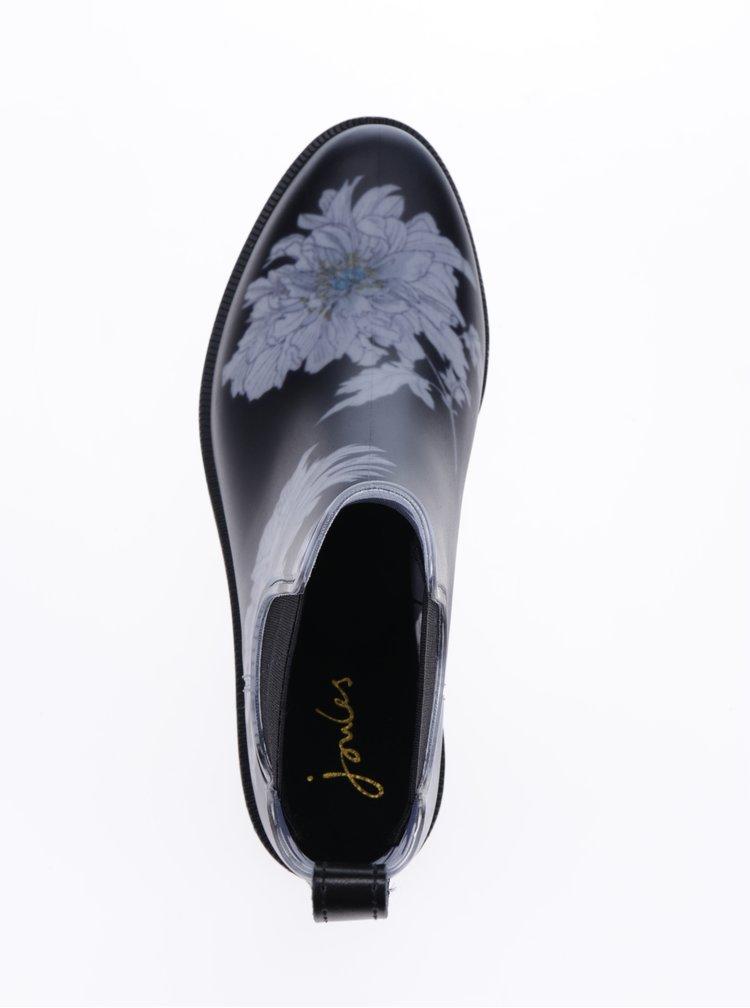 Černé dámské chelsea holínky s květovaným potiskem Tom Joule Rockingham