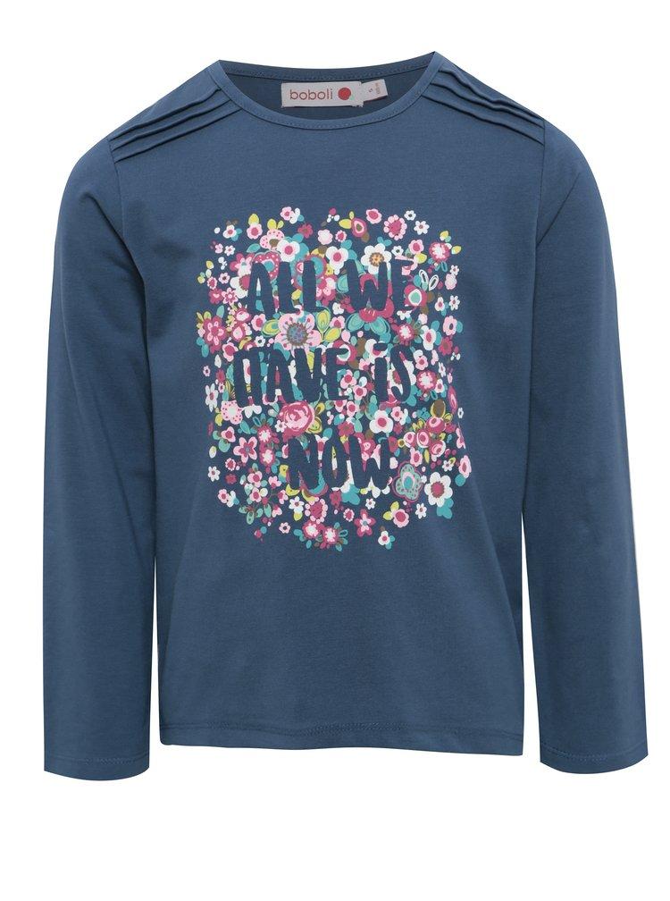 Tmavě modré holčičí tričko s květovaným potiskem BÓBOLI
