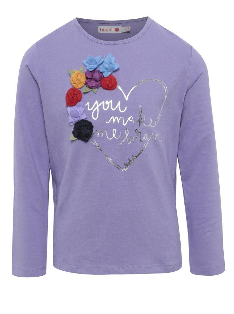 Fialové dievčenské tričko s kvetinovou aplikáciou BÓBOLI