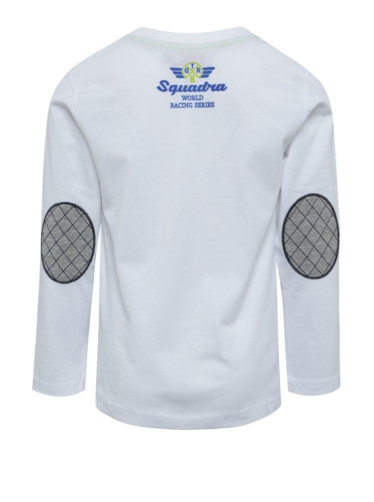 Biele chlapčenské tričko s potlačou a záplatami na lakťoch BÓBOLI