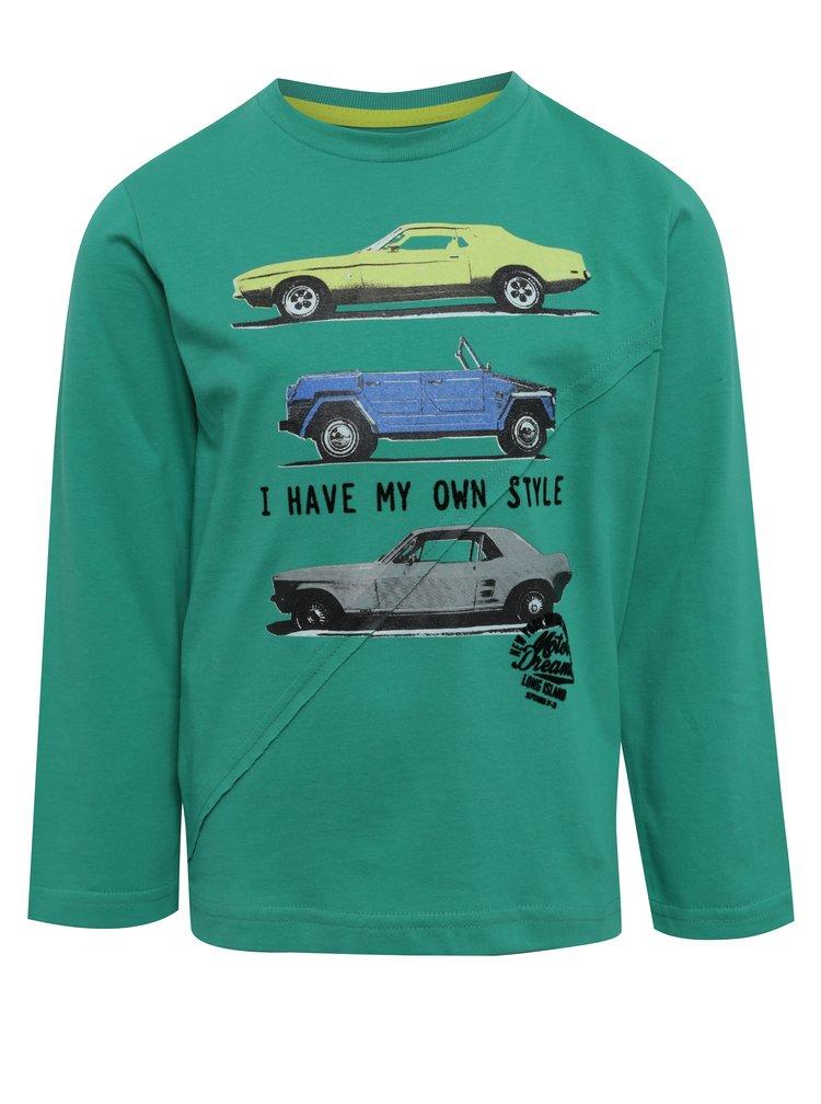 Zelené klučičí tričko s potiskem a dlouhým rukávem BÓBOLI