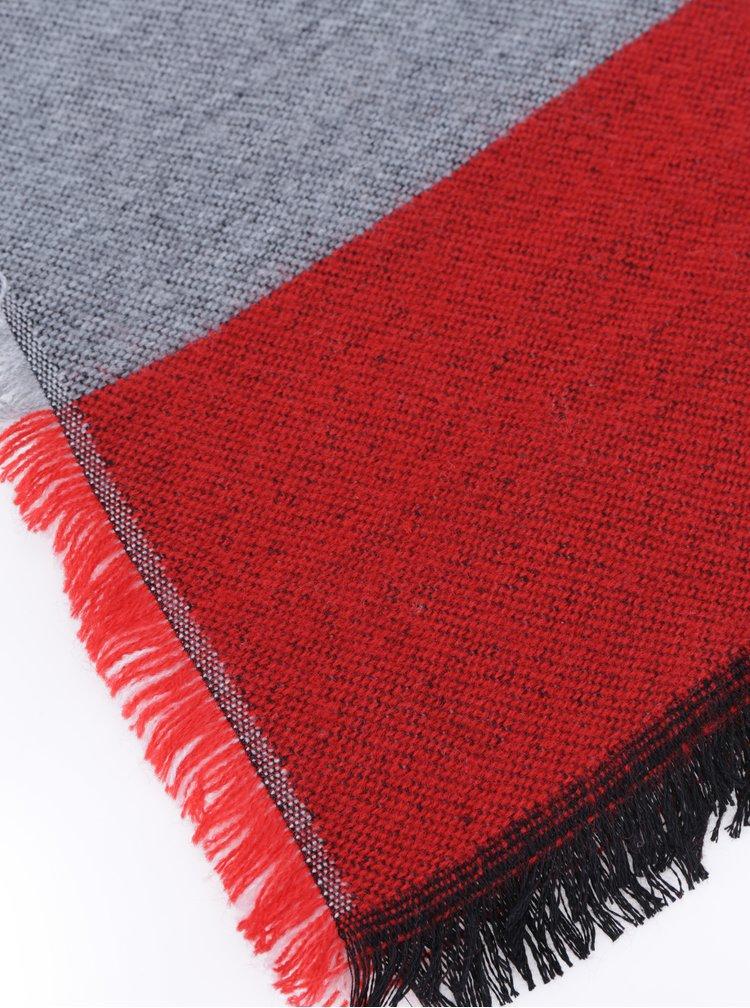 Červeno-šedá žíhaná šála ONLY Nanok