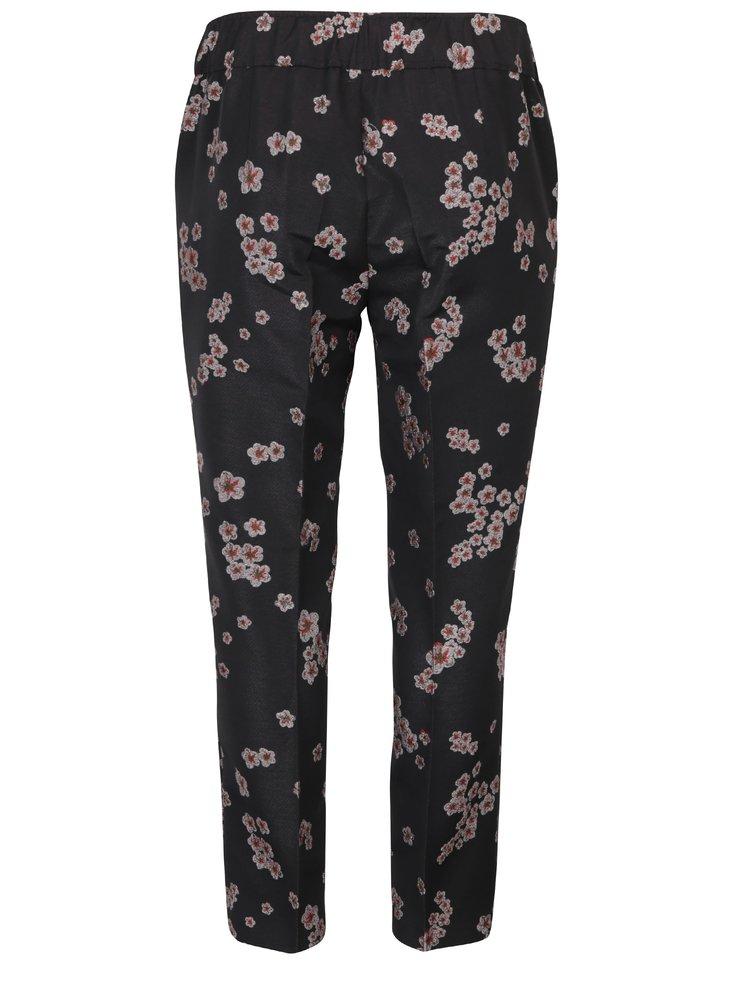 Pantaloni negri cu imprimeu floral - Ulla Popken