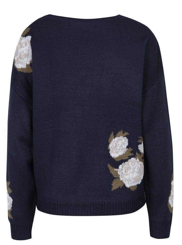 Tmavě modrý květovaný svetr VERO MODA Belmont