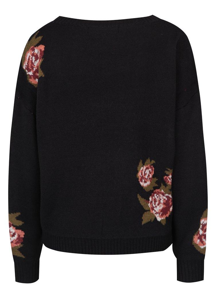 Černý květovaný svetr VERO MODA Belmont