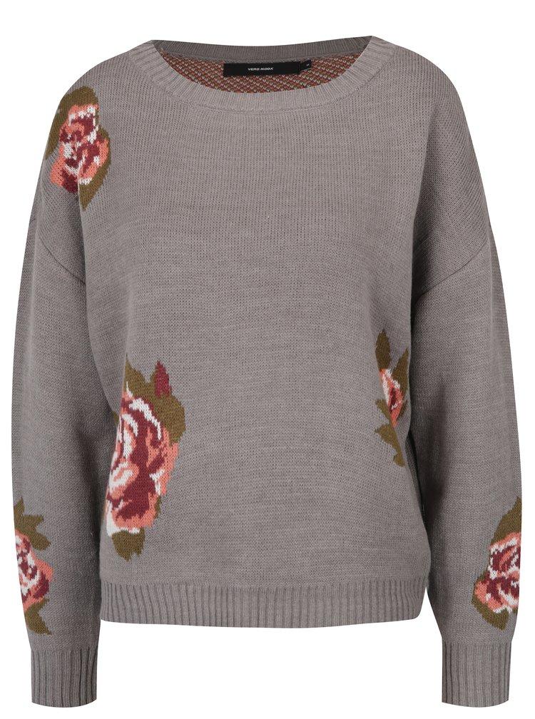 Pulover gri tricotat cu flori -  VERO MODA Belmont