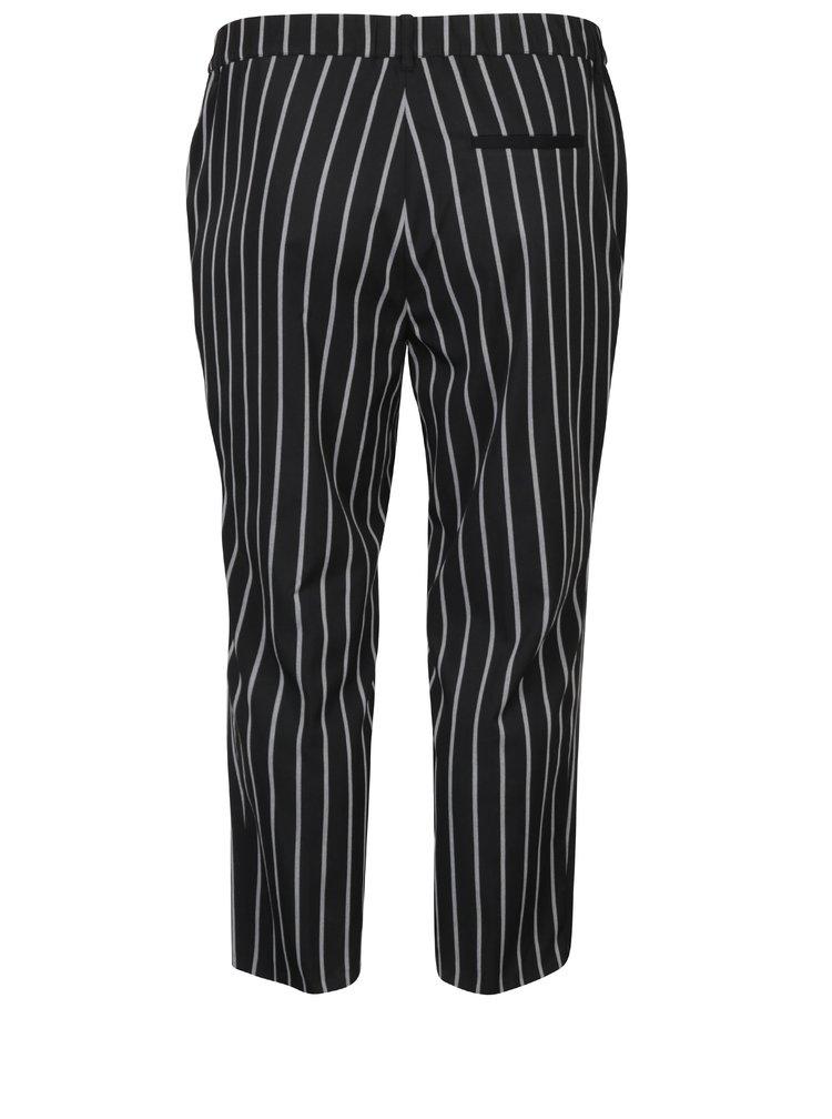 Černé pruhované zkrácené kalhoty Ulla Popken