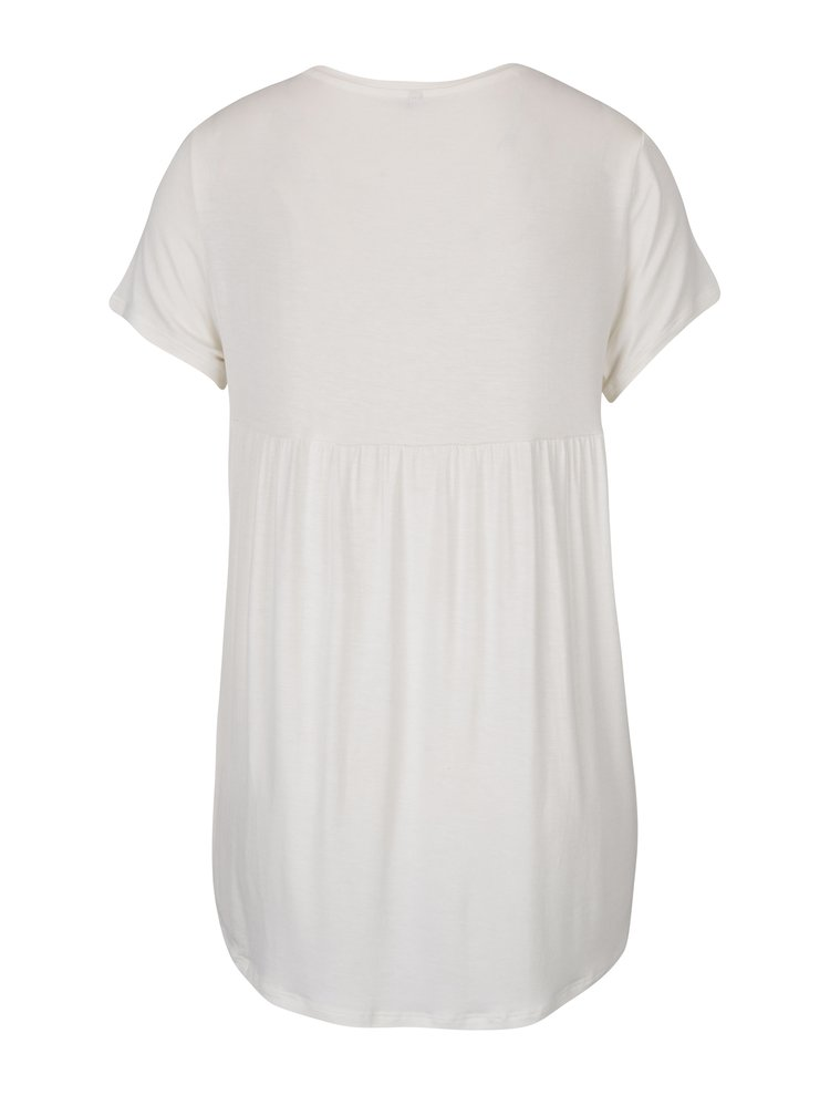 Krémové tričko s prodlouženým zadním dílem ONLY Louise
