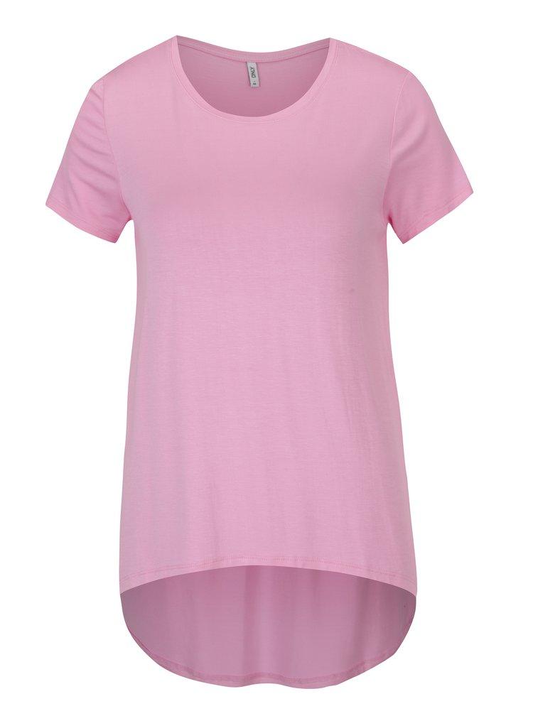 Tricou asimetric roz deschis - ONLY Louise