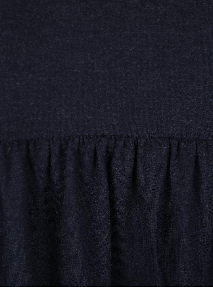 Tmavě modré žíhané tričko s volánem ONLY Olivia