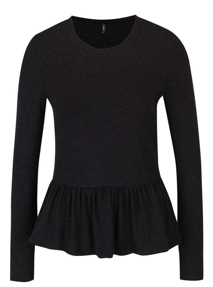 Bluză neagră cu peplum - ONLY Olivia