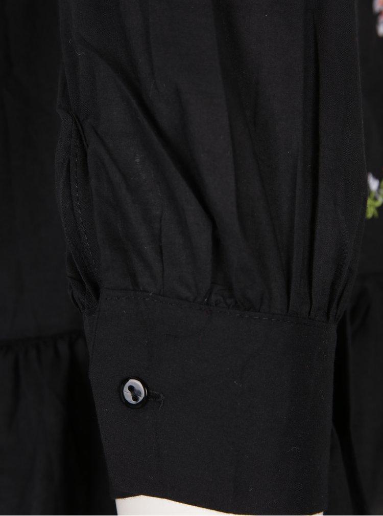 Černá halenka s dlouhým rukávem a výšivkou Haily´s Anny