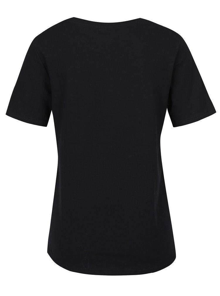 Černé tričko s krátkým rukávem a výšivkou VERO MODA Emmy
