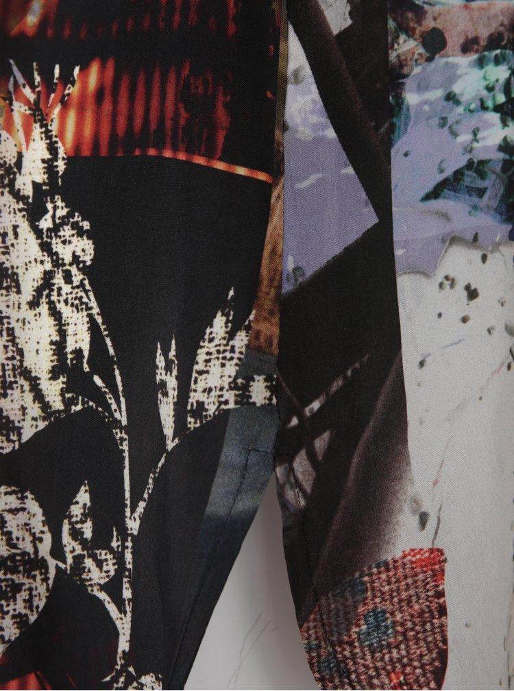 Černo-krémová vzorovaná tunika s 3/4 rukávem Ulla Popken
