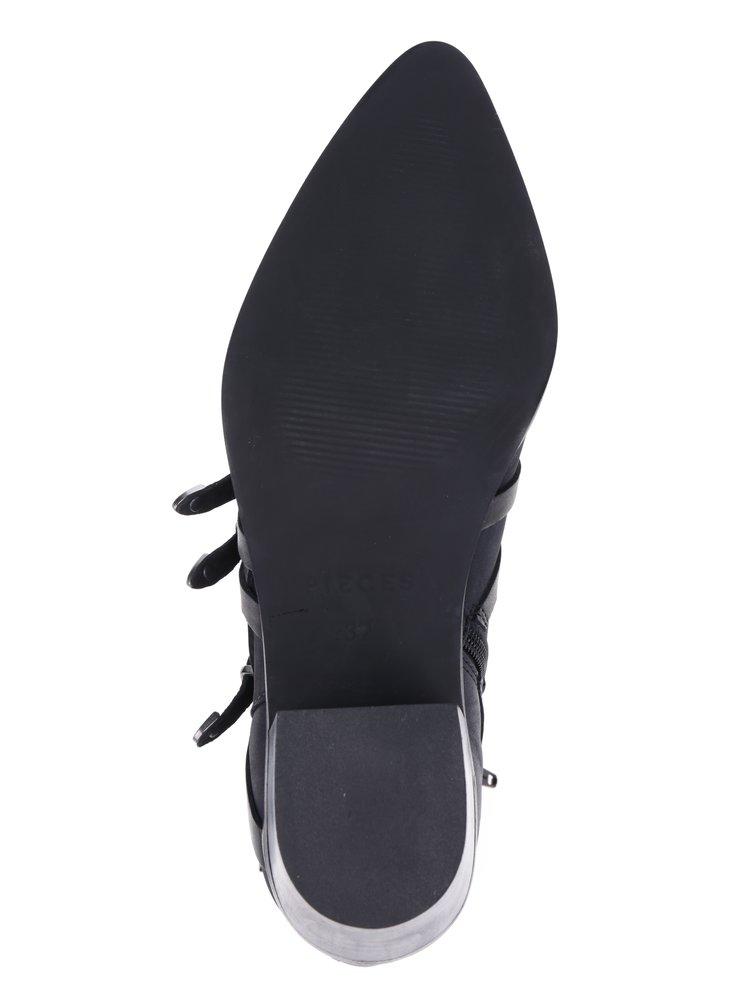 Černé kožené kotníkové boty Pieces Pedra