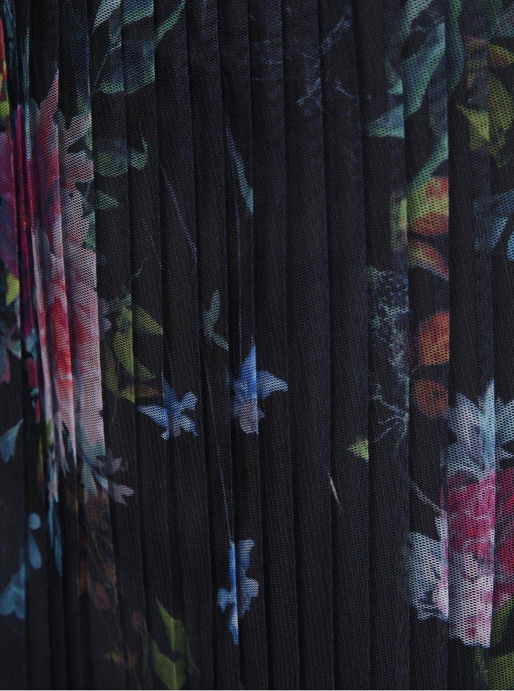 Tmavě modrá tylová plisovaná květovaná sukně ONLY Nanna