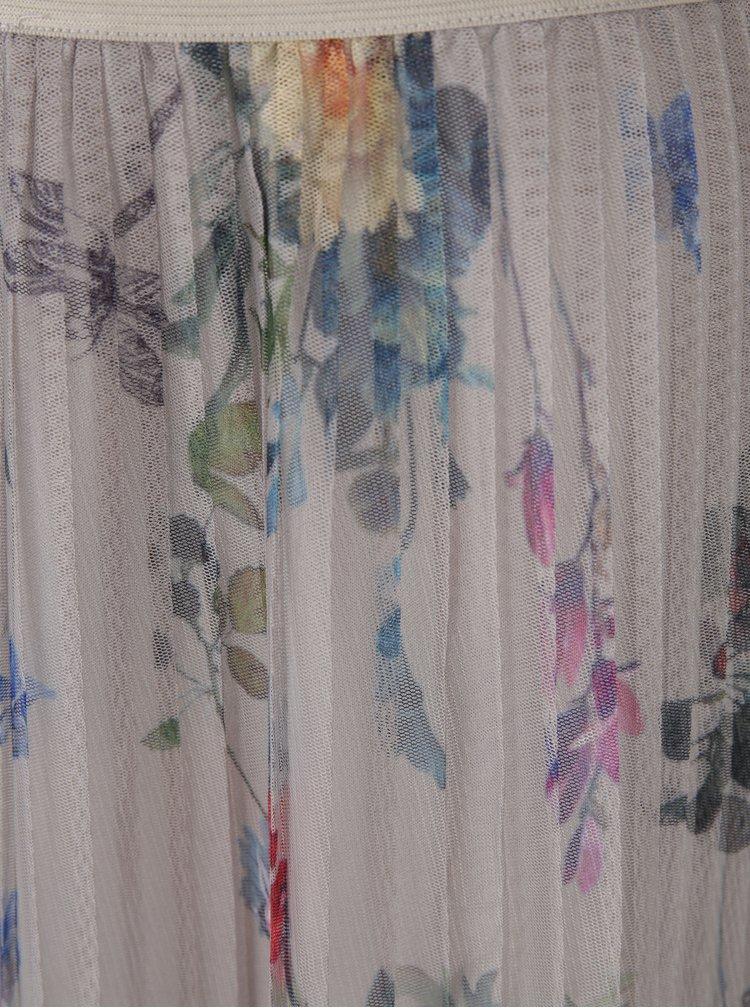 Šedá tylová plisovaná květovaná sukně ONLY Nanna