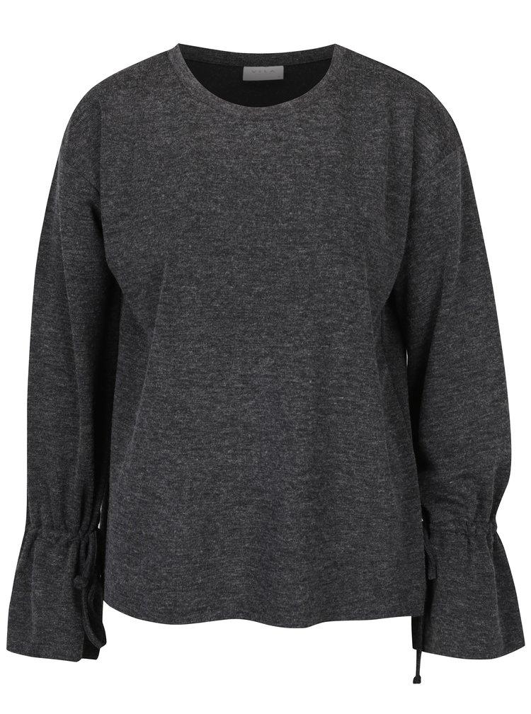 Tmavě šedý žíhaný lehký svetr se šňůrkami VILA Ammie