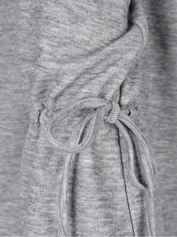 Šedý žíhaný lehký svetr se šňůrkami VILA Ammie