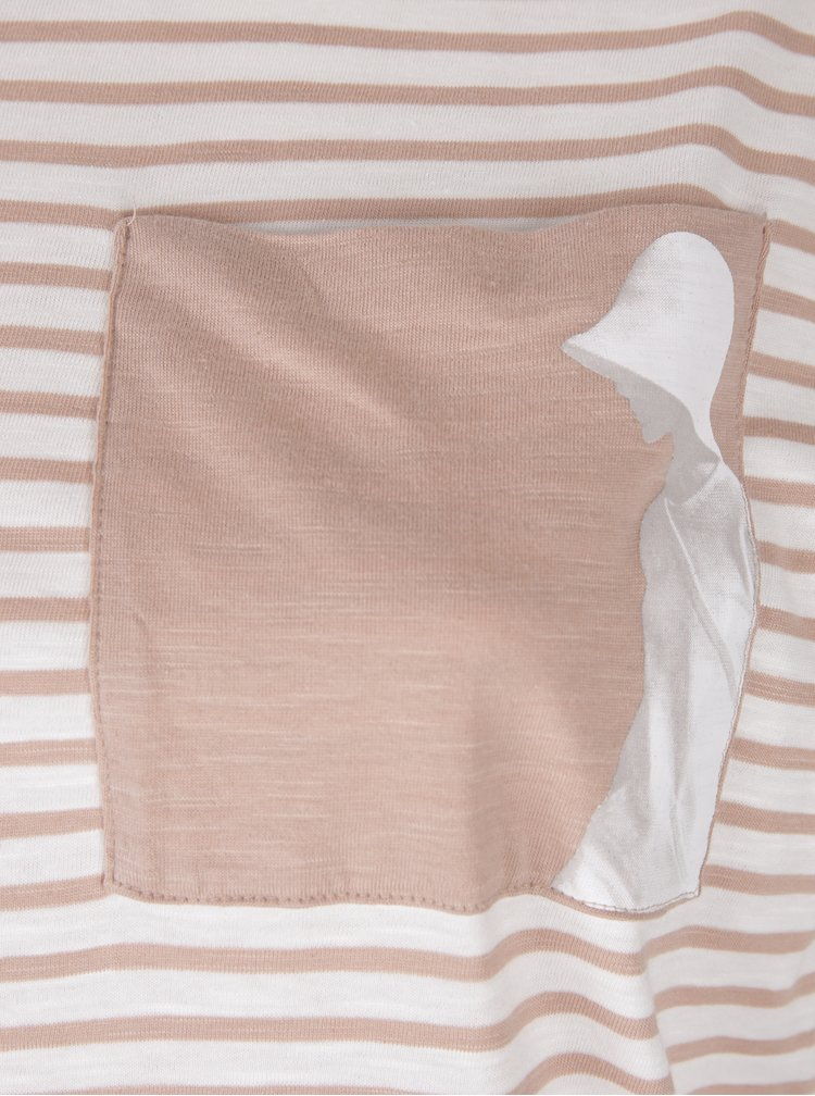 Tricou crem&roz cu dungi - Ulla Popken