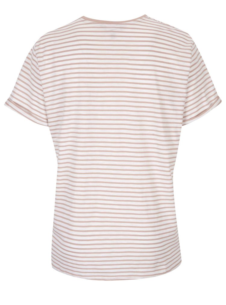 Krémovo-růžové pruhované tričko s kapsou Ulla Popken