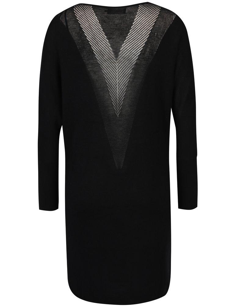 Černé svetrové šaty s průsvitnými zády ONLY Polly