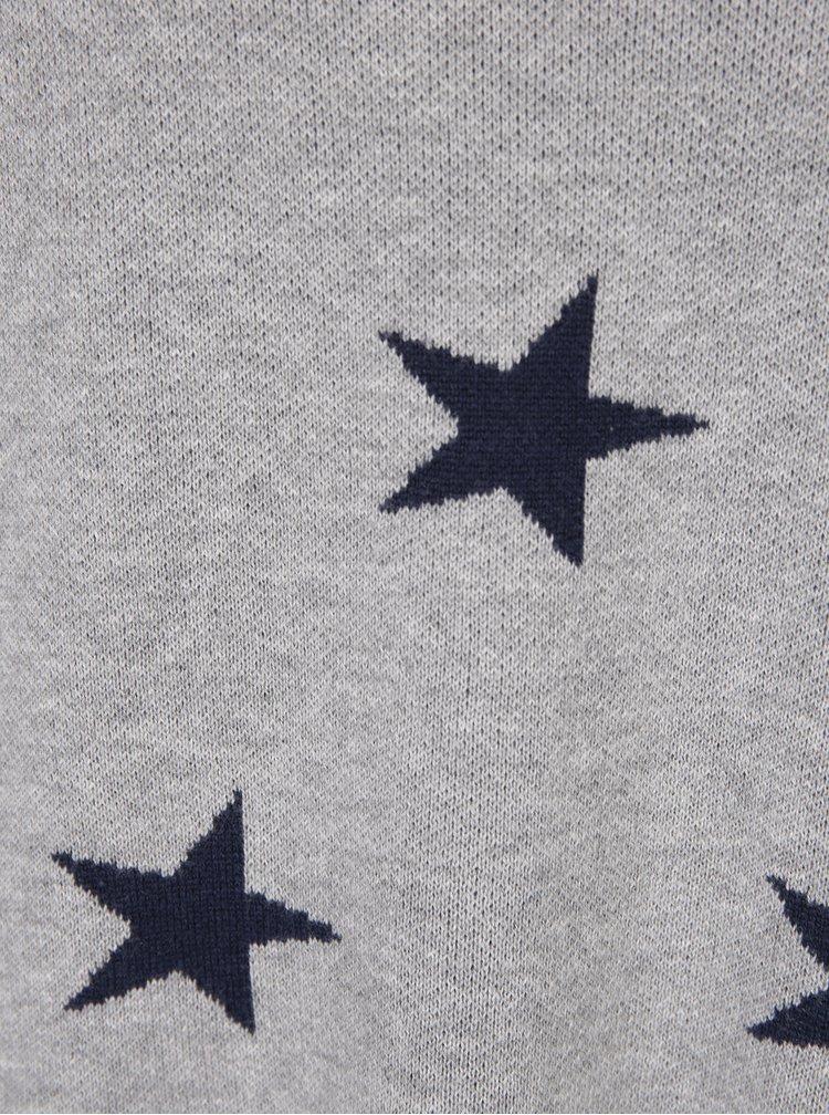 Šedý svetr s motivem hvězd VERO MODA Dotty