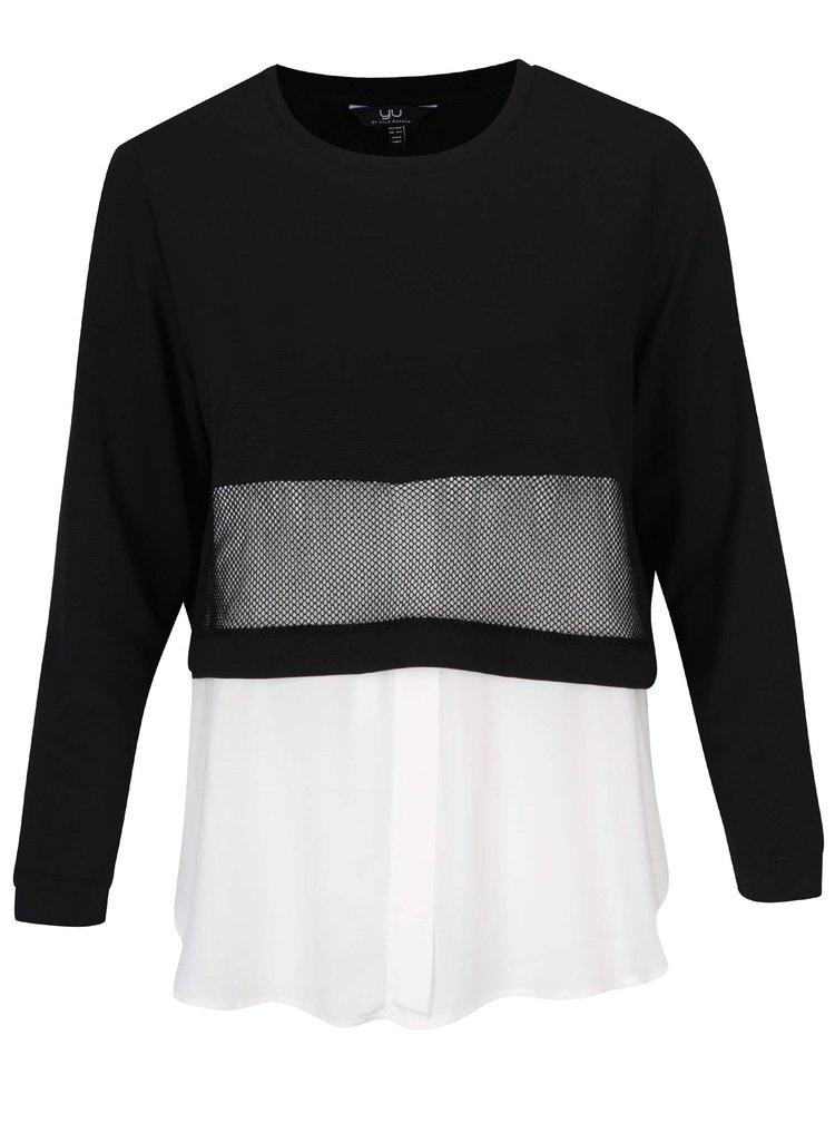 Krémovo-černý mikinový top s všitou košilí Ulla Popken