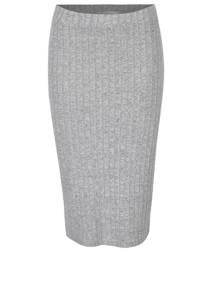 Světle šedá žíhaná pouzdrová sukně ONLY Ida