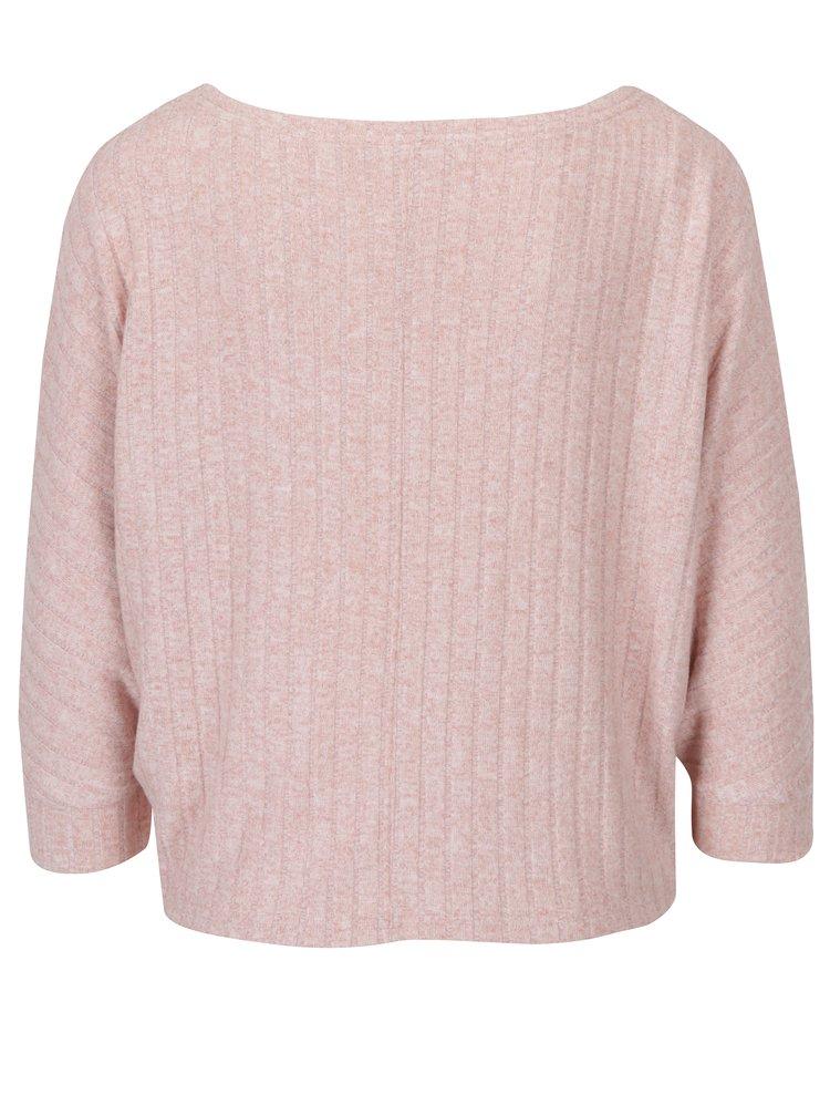 Starorůžový volný krátký žíhaný svetr s 3/4 netopýřími rukávy ONLY Ida