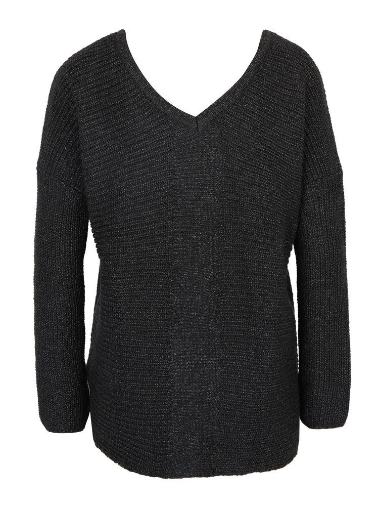 Tmavě šedý žíhaný svetr se šněrováním v dekoltu ONLY Peyton