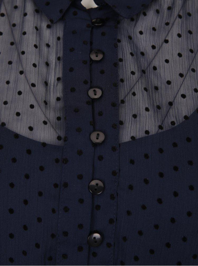 Tmavě modré puntíkované košilové šaty s volánem VERO MODA Flocks