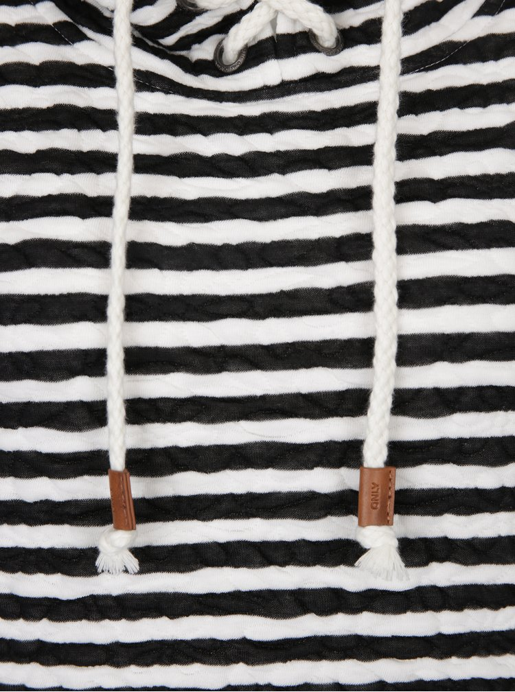 Černo-krémová pruhovaná mikina se šněrováním a kapucí ONLY Sandra