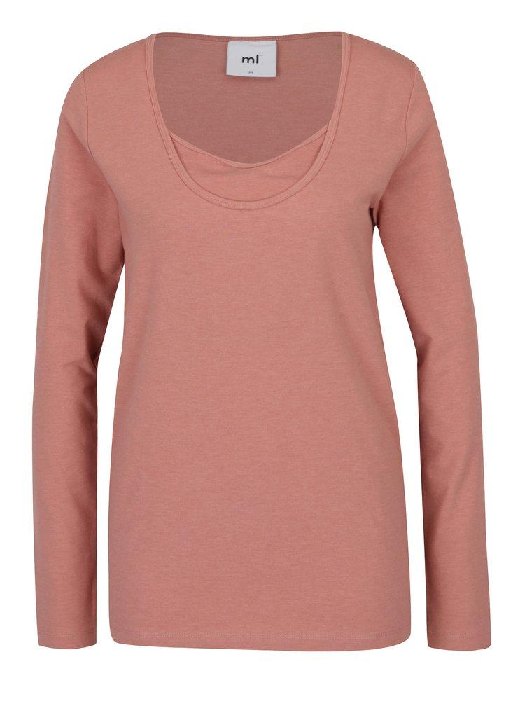 Bluza roz pudrat cu decolteu suprapus - Mama.licious Emmely