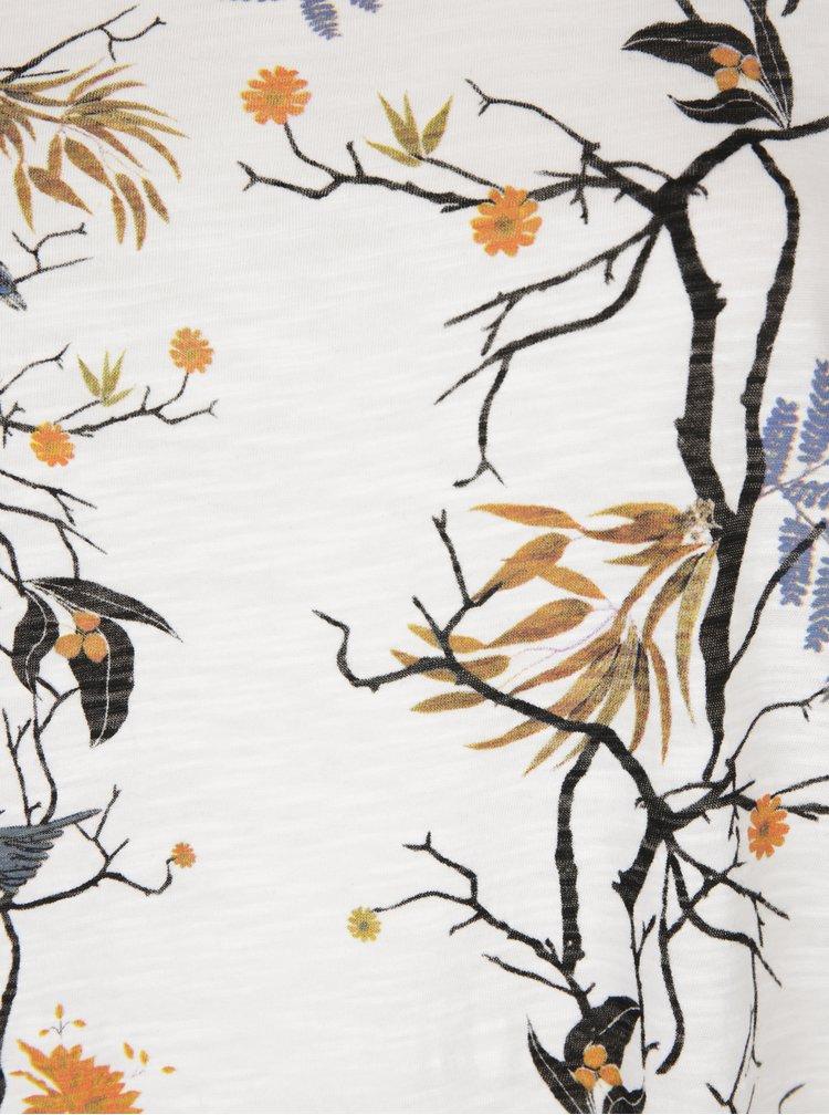 Tricou crem cu print floral Ulla Popken