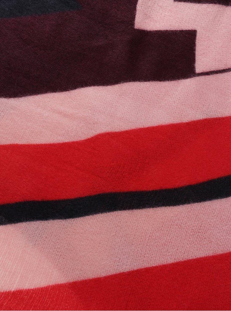 Červeno-vínová vzorovaná šála ONLY Nala