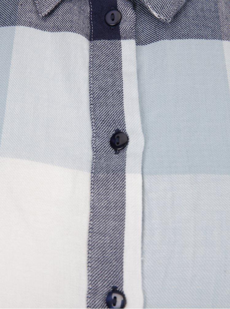 Modré volné kostkované košilové šaty Noisy May Erik