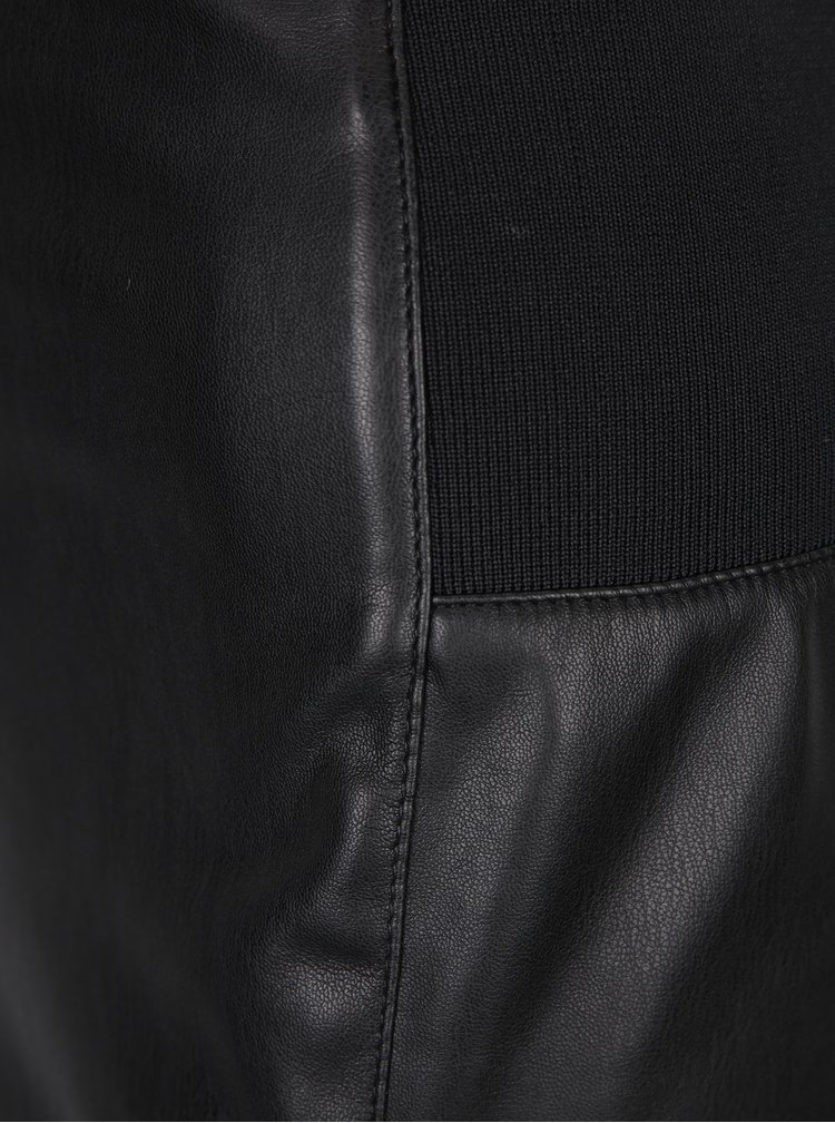 Černá pouzdrová koženková sukně VERO MODA Rib