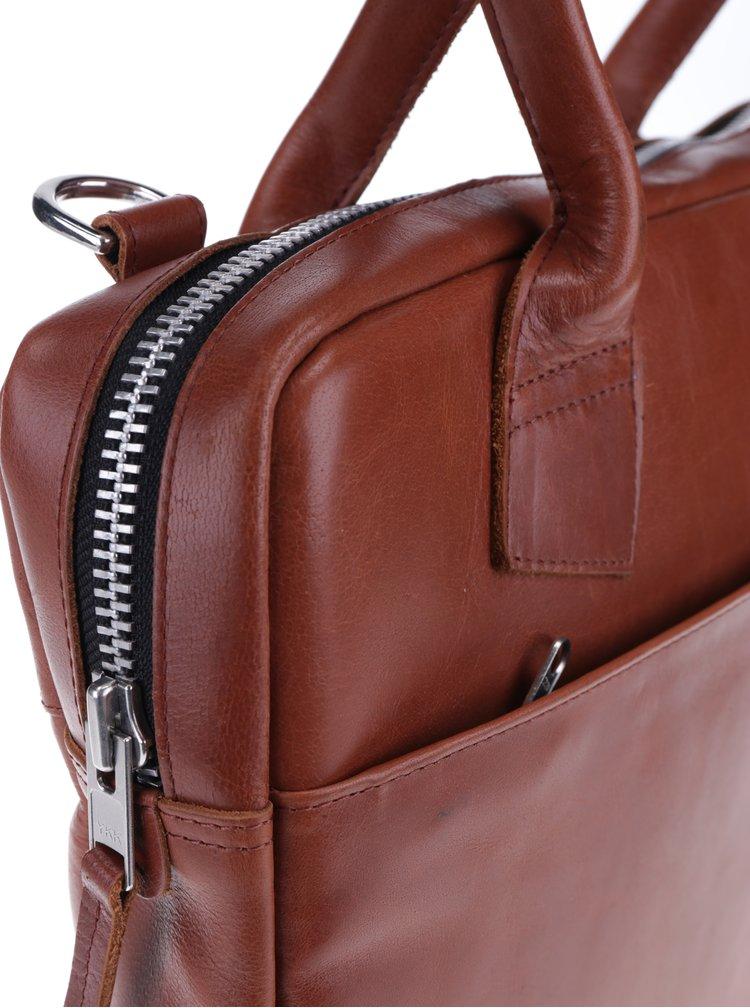 Geantă maro din piele naturală pentru notebook - Royal RepubliQ