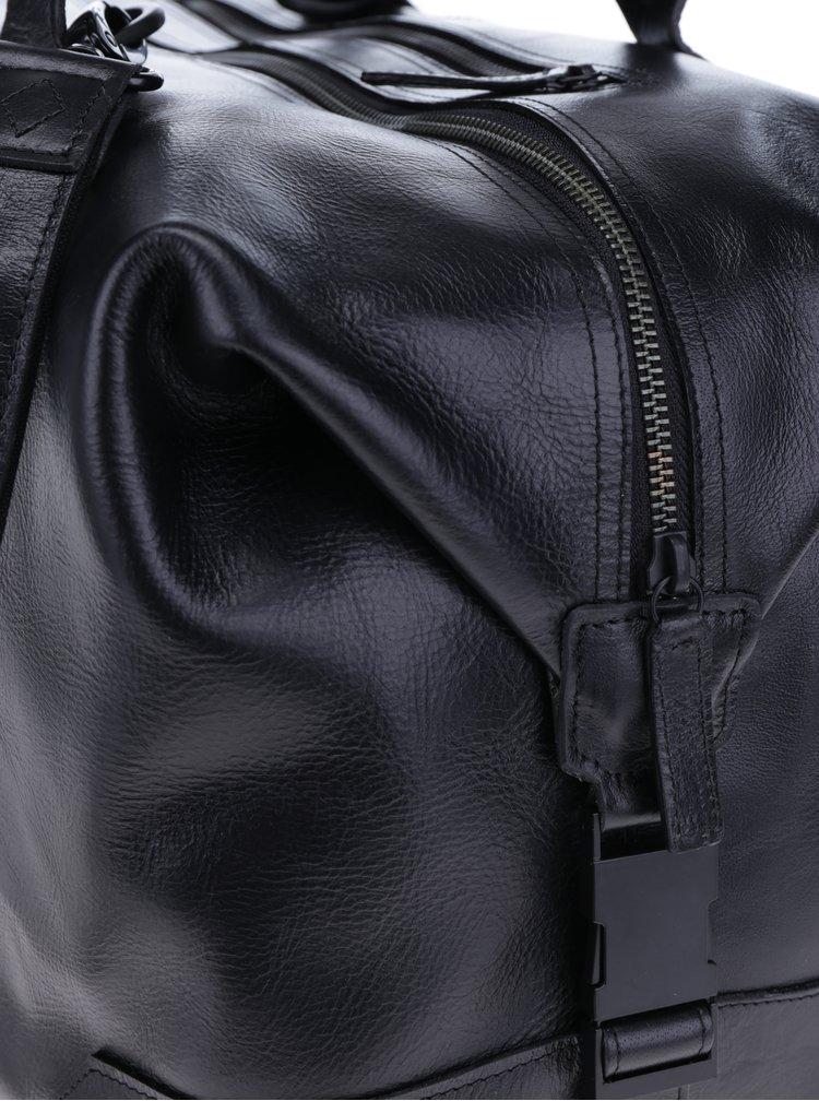 Geantă neagră din piele naturală pentru bărbați - Royal RepubliQ