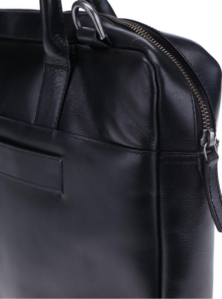 Geantă neagră din piele naturală pentru notebook - Royal RepubliQ
