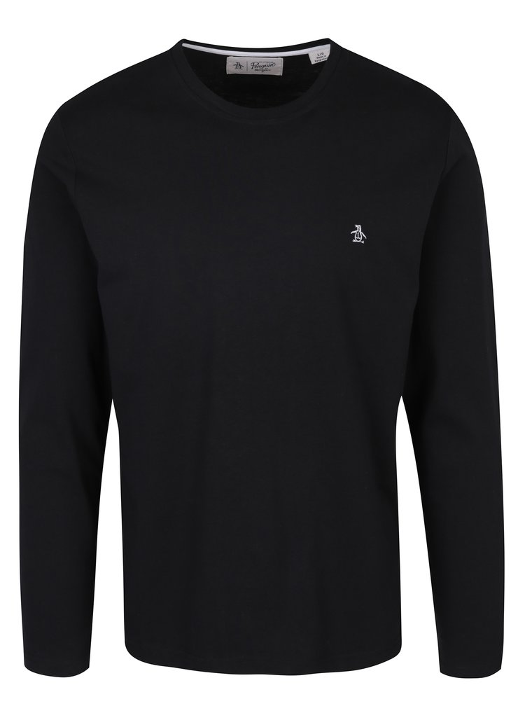 Bluza neagra cu logo brodat si maneci lungi Original Penguin Pin Point