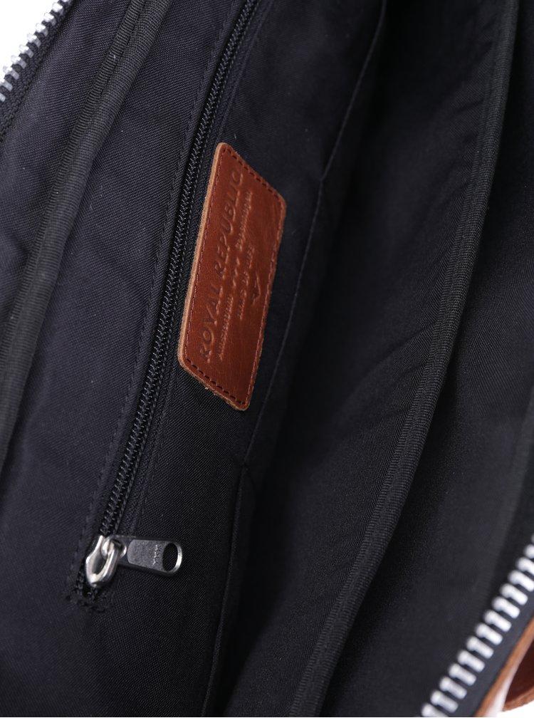 Hnědá pánská kožená taška na notebook Royal RepubliQ