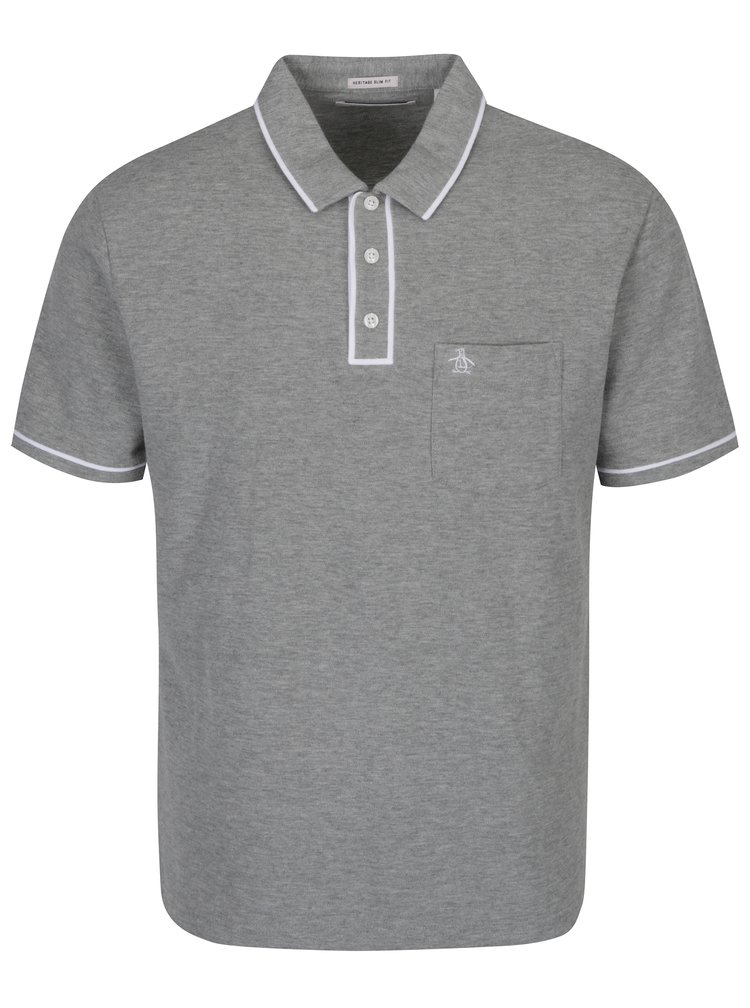 Šedé slim fit polo tričko s náprsní kapsou Original Penguin The Earl
